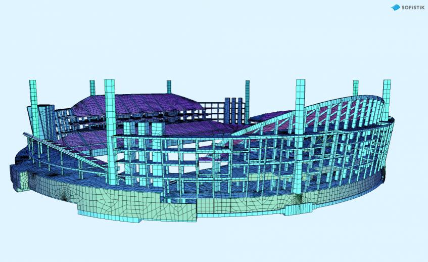 Конечно-элементная расчетная модель, выполненная в ПК SOFiSTiK (вид 2)